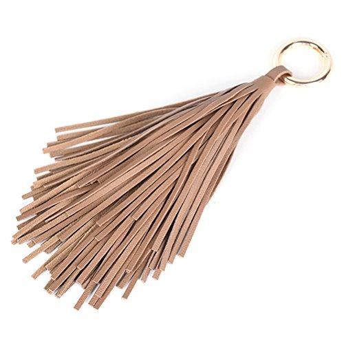 OULII Quaste Taschenanhänger Schlüsselanhänger PU-Leder für Tasche Schlüssel (Kaffee)
