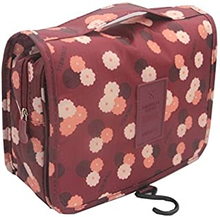 ITraveller Portable Hanging Toiletry Bag/Travel Organizer Cosmetic for Women Makeup or Men Shaving Kit with Hanging Hook for Vacation, Wine Red Daisy