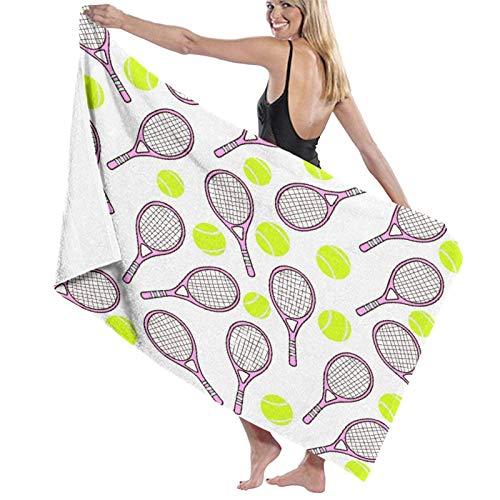 Toallas de baño, Deportes con Pelota de Tenis y Iconos de Raqueta en Estilo de diseño Plano, súper Suave, Alta Absorbente, Manta de Toalla Grande para baño, Playa o Piscina, 52 'x 32'