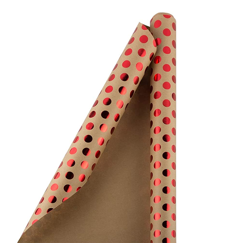 JAM PAPER Gift Wrap - Kraft Wrapping Paper - 25 Sq Ft - Red Foil Polka Dots on Brown Kraft Paper - Roll Sold Individually