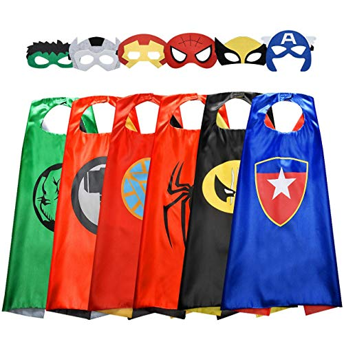 ROKO Superhero Capes for Kids Cool Halloween Costume Cosplay Festival Party Supplies Favors Dress Up Cloth Gifts for 3-12 Year Old Boys Girls Teen Toys Age 3-10 Xmas Christmas Stocking Filler Stuffers