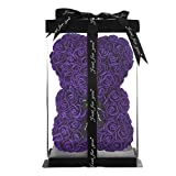 Rose Bear Rose Teddy Bear Best Gift for Valentines Day, Anniversary, Birthdays & Bridal Showers Fully Assembled 10 inch Flower Bear- w/Clear Gift Box (Purple)