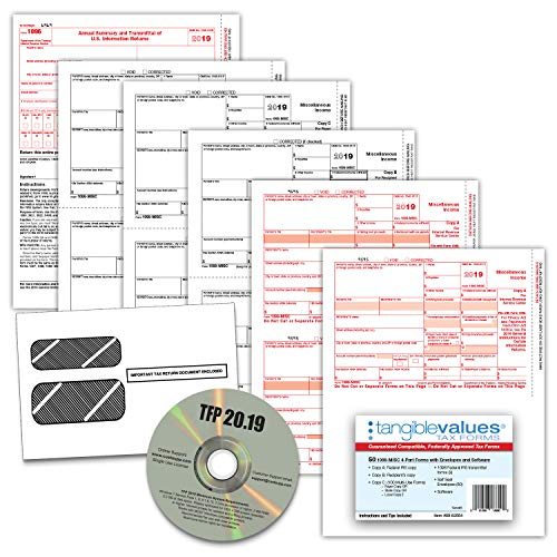 1099 Misc Tax Forms 2019 - Tangible Values 4-Part Kit with Envelopes - TPF Software Included, 50 Pack