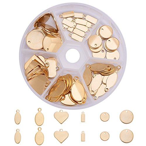 PandaHall Elite - Lot von 72 Stück Charms Tag Marke Anhänger Stamping Tag Anhänger in 304 Edelstahl für Schmuckherstellung, Mischform, Gold