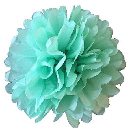 Matissa Lot de 10 pompons en papier de soie de 25 cm pour décoration de fête ou de mariage, Vert menthe