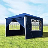 wolketon Pavillons 3x3m Gartenpavillon mit 4 Seitenteile Faltpavillon Blau Faltzelt für Camping Hochzeit und Festival