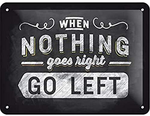 Nostalgic-Art Blechschild-Word Up-Go left, Geschenk-Idee für Retro-Fans, zur Dekoration, 15 x 20 cm, aus Metall, Vintage-Design mit Spruch