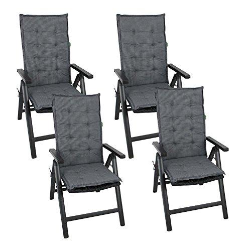 Multistore 2002 4er Set Elegante Gartenstuhlauflage Stuhlauflage Polsterauflage Hochlehner 110x44cm - 4cm dick Sitzauflage Sitzpolsterauflage Sitzkissenpolster