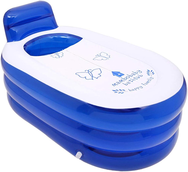 Aufblasbare badewanne für Kinder gro Aufblasbare Badewanne, Faltbare Badewanne für Erwachsene Transparente Gesteppte Unterseite - Blau 130CM  70CM  70CM