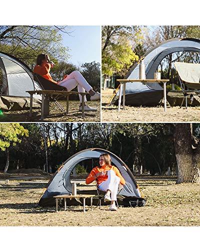 KingCampアウトドアテーブル無段階高さ調整4折キャンプ折りたたみローテーブル竹製コンパクトロールテーブルバーベキューbbqピクニック収納袋付き