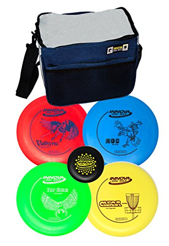 INNOVA Disc Golf Set with 4 Discs Starter Disc Golf Bag – DX Distance Driver,...
