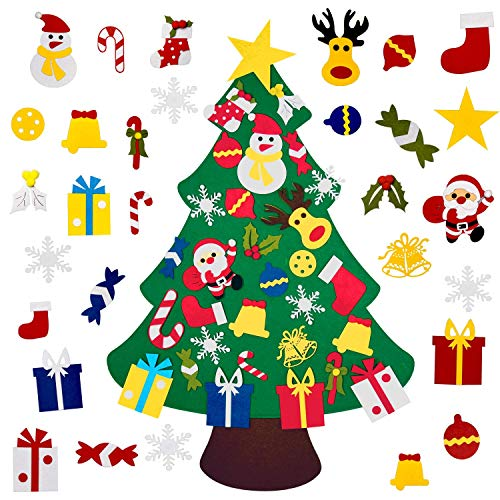 4FT DIY Felt Christmas Tree Set with 36pcs Ornaments - Wall Hanging Felt Xmas Tree for Kids Toddlers Christmas New Year Gift Decorations Party Supplier