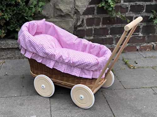 Bukora ® Puppenwagen aus Weide Rosa kariert neues Modell...extra stabil...