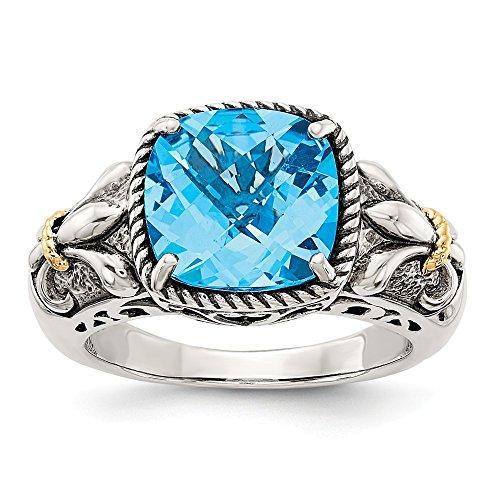 Hermoso anillo de plata de ley de 14 K con topacio azul de 14 quilates y oro blanco y amarillo