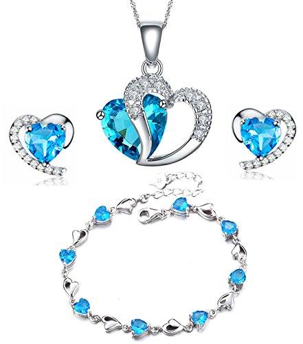 findout Argento sterling Ametista blu di cristallo del cuore forma cubica Zirconi Set Orecchini e pendente della collana / braccialetto d'argento (f1682) (blu Pendant + Earring + braccialett