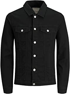Jack & Jones Men's Overdyed Cottonblend Winterwear Regular Fit Denim Style Button-down Jacket Black