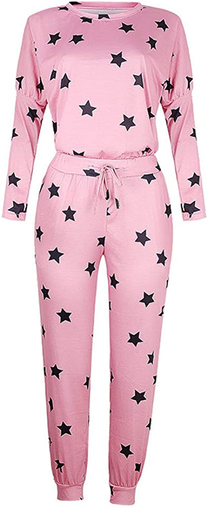Womens Pajamas Sets,Women's Floral Printed Pajamas Set Long Sleeve Tops with Pants Long Lounge Set 2 Piece