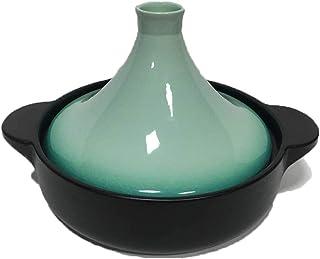 Tajín Marroquí Tajine de Hierro Fundido 25 Cm Material Cerámico con Tapa Cónica Fácil de Limpiar Conservación del Calor Y Ahorro de Energía Olla de Cocción Lenta Adecuado para 2-3 Personas,Verde