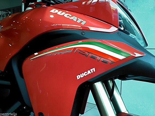 Kit ADESIVI 3D TRICOLORE PROTEZIONI Coda Per MOTO DUCATI MULTISTRADA 1200 Italia
