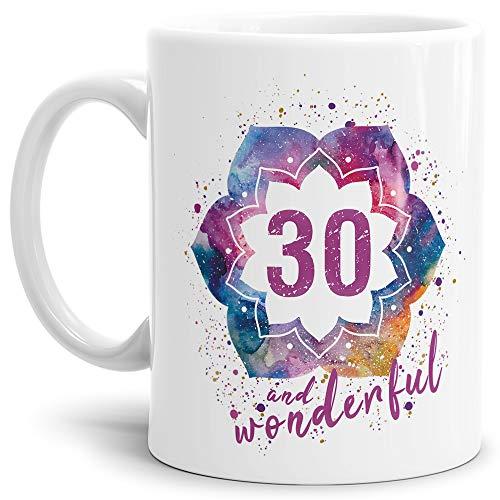 Tassendruck Geburtstags-Tasse 30 and Wonderful Geburtstags-Geschenk zum 30. Geburtstag als Geschenkidee für die Frau/Abstrakt/Bunt/Kaffeetasse/Weiss