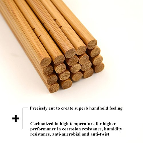 Bamber 10 Pairs Reusable Bamboo Chopsticks Set, 10 Inches Long Chopstick, Japanese Style