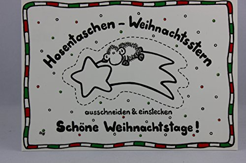 sheepworld - 50196 - Postkarte, Weihnachten, Schaf, Hosentaschen - Weihnachtsstern