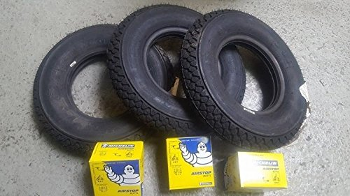 Trois 3 gommes pneus Michelin s83 3.00 – 10 + Chambres à air vespa special 50 pK