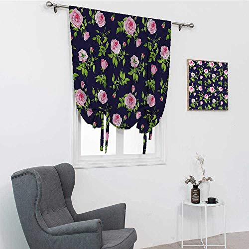 Navy and Blush Roman Shades, Vintage Roses and Buds Romantic Feminine Floral Pattern Old Fashioned Room Darkening Roman Shades, Indigo Green Pink, 30' x 64'