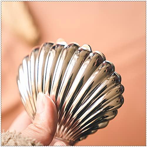Creative Shell Shape Plastic Jewelry Storage Tray Display Plate Collar Anillo Pendientes Decoración Organizador (Plata)