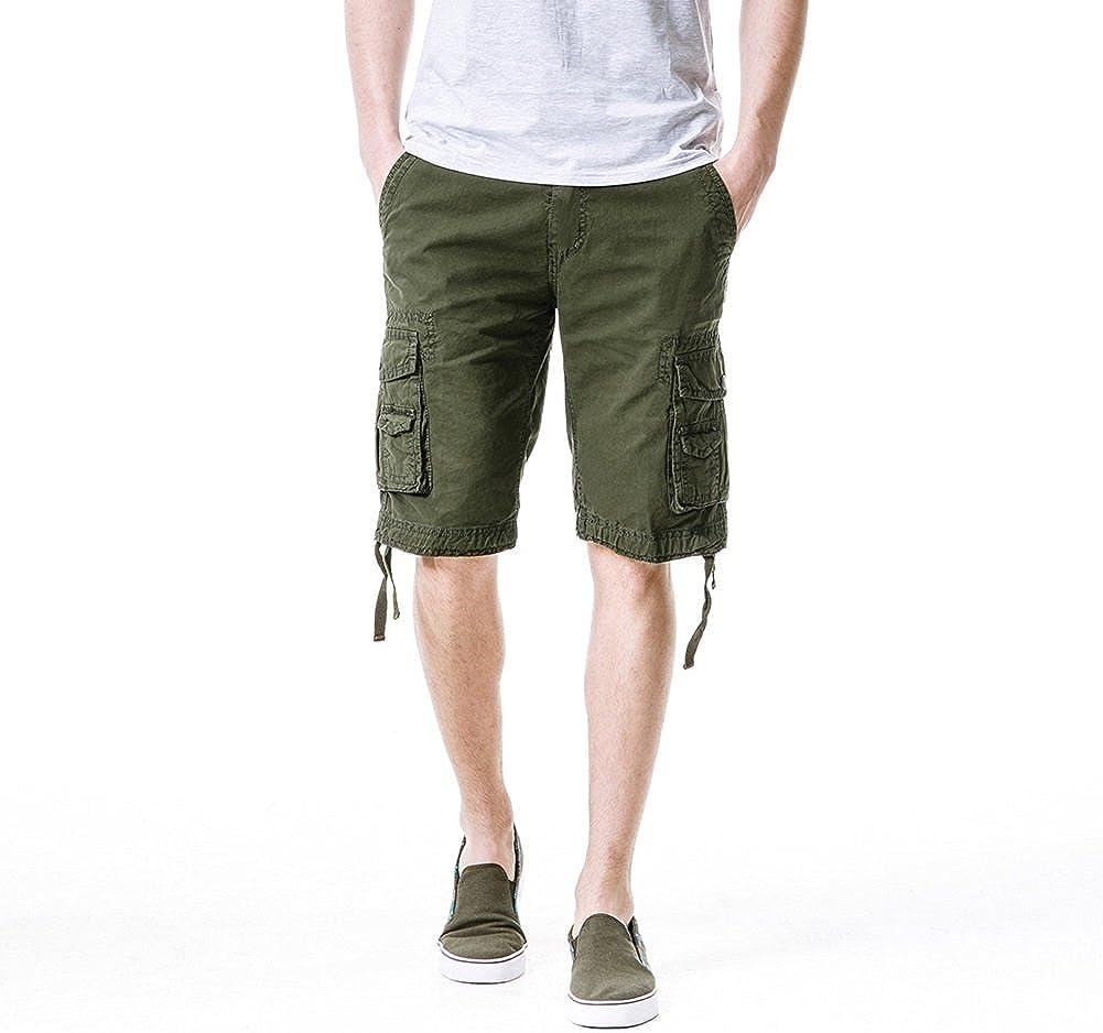 Men's Cargo Shorts Loose Fit Regular Classic Fit Casual (34, Green)