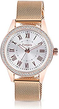 Fomaris Rose Gold Women's Mesh Bracelet Quartz Watch