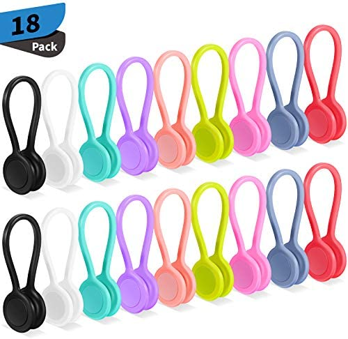 18 Pieces Magnetic Cable Ties Silicone Cord Winder Magnetic Cable Clips Headphone Cables USB product image