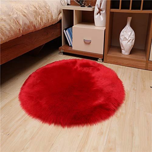 Love Home Alfombra Redonda de Piel de Oveja sintética, Piel de Oveja Australiana, Muy Suave, Gruesa, para la habitación de los niños, Lana, S, 180x180cm(71x71inch)