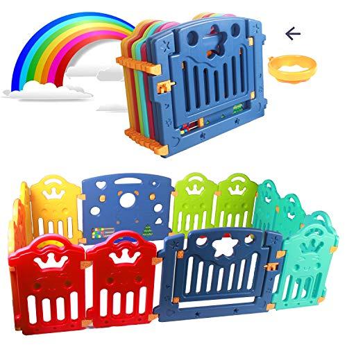 CCLIFE Parque infantil bebe Valla Infantil Puerta de Seguridad de Plástico para Bebés para Niños de 10 Meses a 9 Años