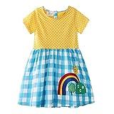 Bebé Niñas Vestidos,Vestido Casual de Manga Larga con Estampado Animal de Dinosaurio para 1-7 años (3-4 Años, Cuadros Azules)