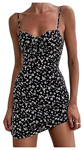 Vestidos de verano para mujer Spaghetti Strap Beach Wear Cuello sin mangas Mini vestido (Color : Noir, Size : L)