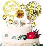SunAurora Happy Birthday Cake Topper, Decorazione per Torta, Cake Topper Set Glitterate, Coriandoli Palloncino Stelle Cuori Cupcake Toppers per Festa di Compleanno
