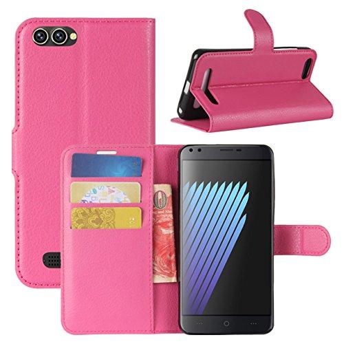 HualuBro Doogee X30 Hülle, Premium PU Leder Leather Wallet Handyhülle Tasche Schutzhülle Hülle Flip Cover mit Karten Slot für Doogee X30 5.5 Inch Smartphone (Rose)