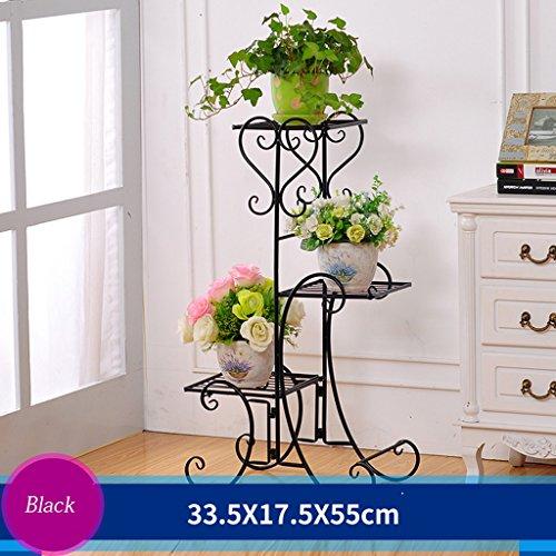 Cadre en fleur de fer Cadre de chêne en bois de plancher Ensemble de salon intérieur et extérieur Salon de fleurs en balcon 3 couches (33,5 * 17,5 * 55 cm) (Couleur : Noir)