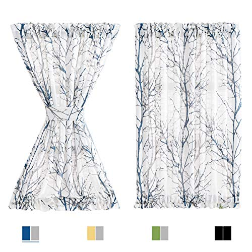 "FMFUNCTEX Sheer French Door Curtains 40"" Blue White Semi-Sheer Patio Half Door Panel Branch Tree Print Curtains for Glass Door with 1 Tieback 50"" w 1 Panel"