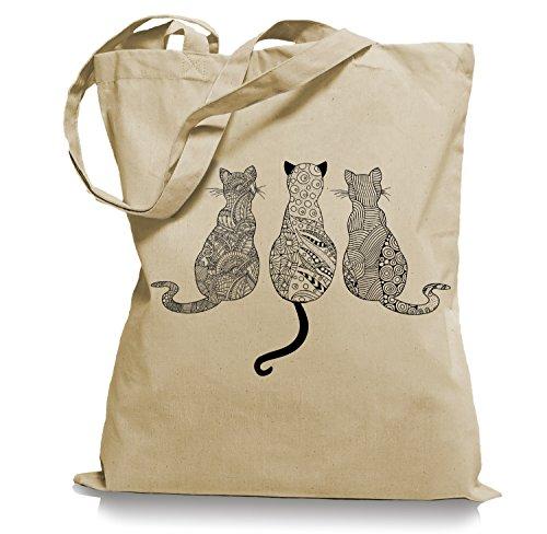 Ma2ca® Cats - Katzen Tragetasche/Bag/Jutebeutel WM101-sand