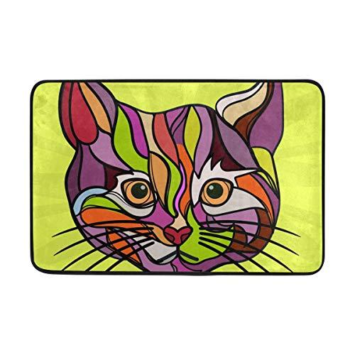 FANTAZIO Felpudo Entrada al Aire Libre, Arte de Gato, para Pintar, Alfombra Recta, Agarre para Cocina/baño, 60 x 40 cm