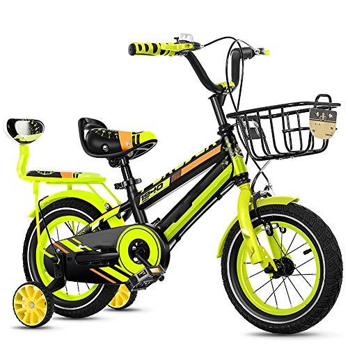 YumEIGE kinderfiets kinderfiets 12 14 16 18 20 inch, kinderfiets met achterbankbank, fiets soort koolstofstaal 2-15 jaar oud met blauw, groen, rood