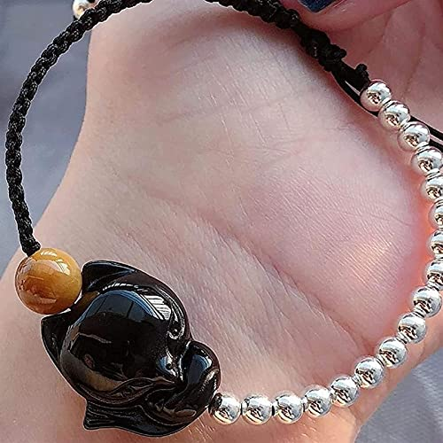 Pulseras con cuentas de piedras preciosas premium Pulsera de zorro obsidiana natural Feng Shui Joyería Lucky Love 925 Plata con cuentas Estilo ajustable para hombres / mujeres Brazaletes de joyería de
