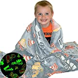 Construction Truck Blanket Glow in the Dark Luminous Tractor Blanket for Kids - Soft Plush Digger Dump Truck Excavator Blanket Throw For Boys - Large 60inx50in Glowing Big Trucks Toddler Blankets Gift