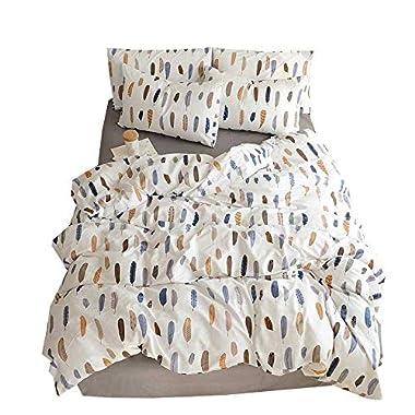 BuLuTu Feather Print Kids Duvet Cover Set Queen White Cotton,Premium Lightweight 3 Pieces Reversible Teen Boys Girls Bedding Sets Full Size Zipper Closure for Men Women,Soft,Breathable,NO Comforter