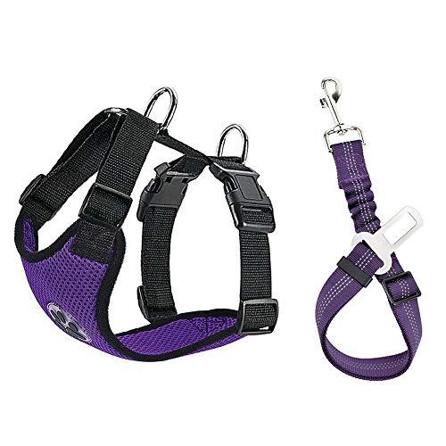 Lukovee Imbracatura regolabile per cani con cintura di sicurezza, tessuto a rete traspirante in lattice, pettorina da viaggio, cintura di sicurezza (XS, imbracatura e cintura (viola)