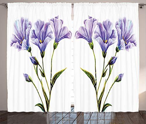 ABAKUHAUS Flor de la Acuarela Cortinas, romántico Verano, Sala de Estar Dormitorio Cortinas Ventana Set de Dos Paños, 280 x 175 cm, Blanco Violeta Verde