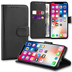 ASD Accessories iPhone 6-6S Wallet Flip Case - Leather Premium Folio Phone Cover [Kickstand] [Cash & Card Slots] [Magnetic Closure] Wireless Charging Compatible Real Leather For iPhone 6-6S Black
