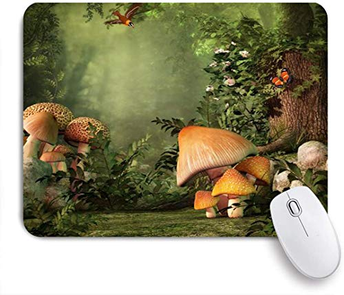 Dekoratives Gaming-Mauspad,Schmetterling Pilz Stumpf Blume Mimose,Bürocomputer-Mausmatte mit rutschfester Gummibasis